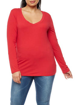 Plus Size Long Sleeve V Neck Top - 3917054260062