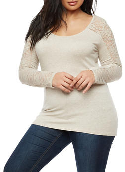 Plus Size Long Sleeve Lace Top - 3917054260063