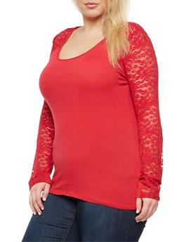 Plus Size Long Sleeve Lace Top - 3917054260063
