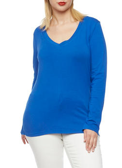 Plus Size V-Neck Top with Long Sleeves - 3917054260090