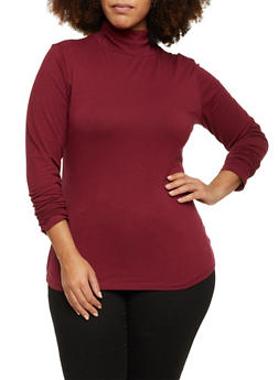 Plus Size Ruched Turtleneck Top - 3917054260225