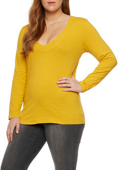 Plus Size Long Sleeve Top with V Neck - GOLD - 3917054260572