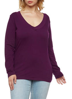 Plus Size Long Sleeve Top with V Neck - 3917054260572