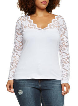 Plus Size Top with Long Lace Sleeves - 3917054260641