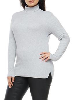 Plus Size Ribbed Knit Turtleneck - 3917054260933