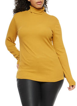 Plus Size Ribbed Knit Turtleneck - 3917054260933