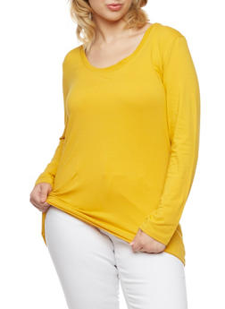 Plus Size Long Sleeve Top with Scoop Neck - GOLD - 3917054266027