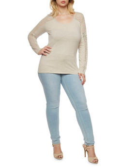 Plus Size Long Sleeve Top with Lace Paneling - 3917054266380