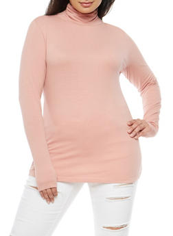 Plus Size Basic Turtleneck Top - 3917054266722