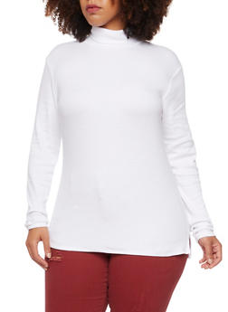 Plus Size Ribbed Turtleneck Top - 3917054267933