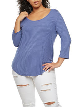Plus Size Caged Back Top - 3917054268672