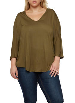 Plus Size Top with Dolman Sleeves - OLIVE - 3917054268718
