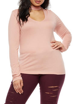 Plus Size Keyhole Long Sleeve Top - 3917054268774