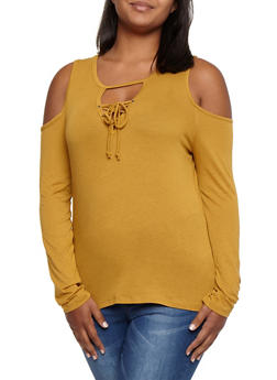 Plus Size Cold Shoulder Lace Up Long Sleeve Top - MUSTARD - 3917054268916