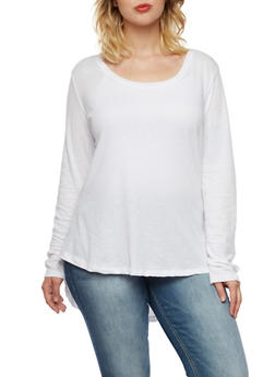 Plus Size Long Sleeve Top with Scoop Neck - 3917054269145