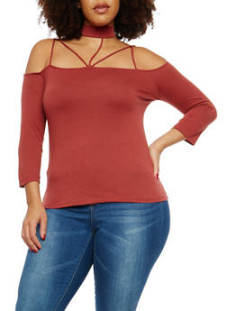 Plus Size Caged Choker Neck Top - 3917054269771