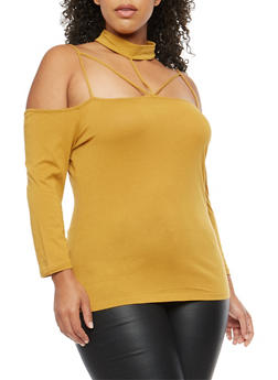 Plus Size Caged Choker Neck Top - MUSTARD - 3917054269771