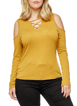 Plus Size Long Sleeve Caged Neck Cold Shoulder Top - 3917054269775