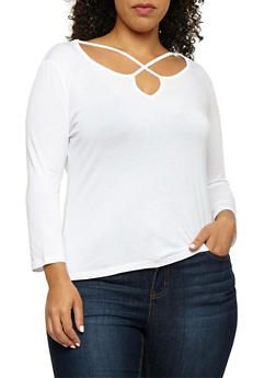 Plus Size Long Sleeve Caged Neck Top - WHITE - 3917054269776