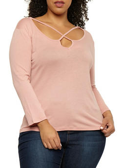 Plus Size Long Sleeve Caged Neck Top - 3917054269776