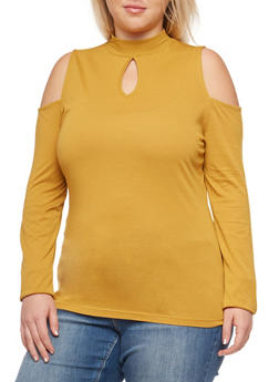 Plus Size Long Sleeve Cold Shoulder Solid Top - 3917054269806