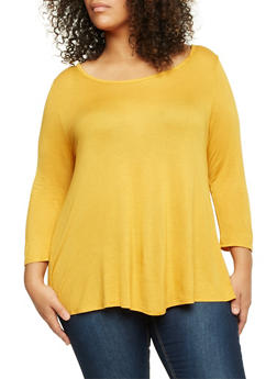 Plus Size Knit Top with Lattice Back - MUSTARD - 3917058930307