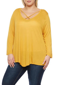 Plus Size Long Sleeve Top with Lattice V Neck - MUSTARD - 3917058930308