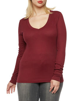 Plus Size Long Sleeve Thermal Top with V Neck - BURGUNDY - 3917066240004