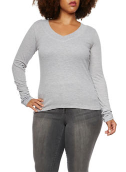 Plus Size Thermal V Neck Top - 3917066240237