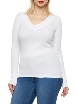 Plus Size Thermal Top with V Neck - WHITE - 3917066240237