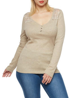 Plus Size Thermal Henley Top with Lace Paneling - 3917066240584