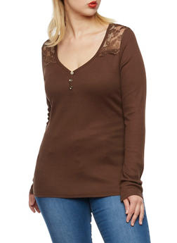 Plus Size Lace Paneling Thermal Henley Top - 3917066240584