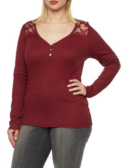 Plus Size Thermal Henley Top with Lace Paneling - BURGUNDY - 3917066240584