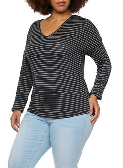 Plus Size Striped Top with Scoop Neck - 3917072891293