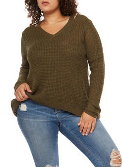 Plus Size Slit Shoulder Chunky Knit Sweater - 3920015050011