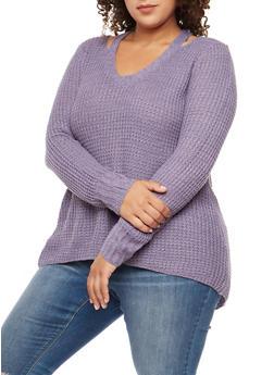 Plus Size Slit Shoulder Chunky Knit Sweater - 3920015050011