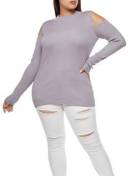 Plus Size Ribbed Knit Slit Shoulder Sweater - 3920015050015