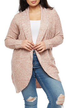 Plus Size Mixed Knit Cardigan - 3920015050036