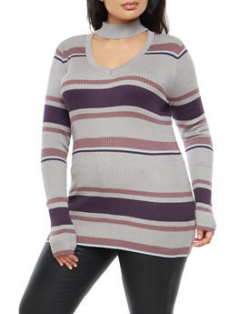 Plus Size Ribbed Knit Striped Sweater - 3920015050052