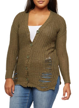 Plus Size Destroyed Knit Cardigan - 3920015050061