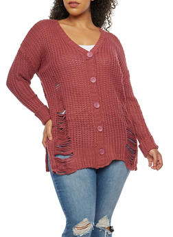 Plus Size Destroyed Knit Cardigan - 3920015050061
