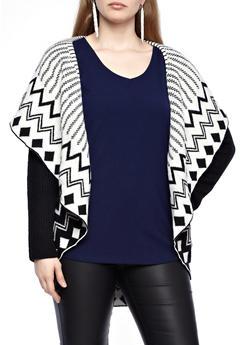 Plus Size Long Sleeve Hooded Shawl Collar Cardigan With Patterns,BLACK-CREAM,medium