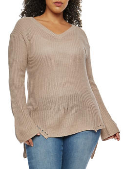 Plus Size V Neck Knit Sweater - 3920015050260