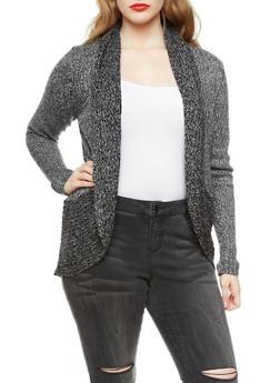 Plus Size Open Front Marled Sweater Cardigan with Shawl Collar,BLACK,medium