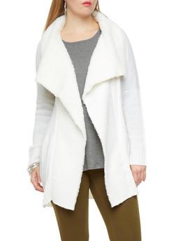 Plus Size Faux Fur Dropped Shawl Collar Longline Open-Front Cardigan,CREAM,medium