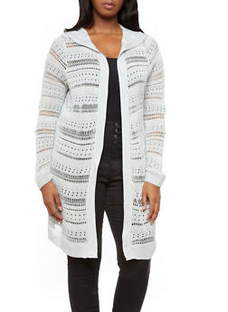 Plus Size Hooded Striped Open Knit Sweater Cardigan with Long Sleeves,GRAY,medium
