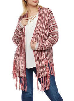 Plus Size Open Cardigan with Fringed Trim - 3920015052370