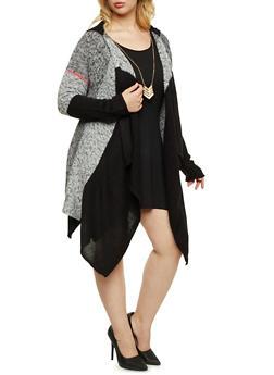 Plus Size Knit Asymmetrical Cardigan with Hood - 3920015053620