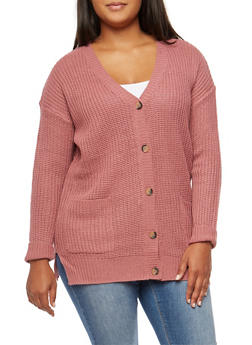 Plus Size Button Front V Neck Cardigan - 3920015054358