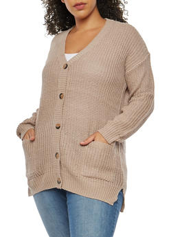 Plus Size Button Front V Neck Cardigan - 3920015054358